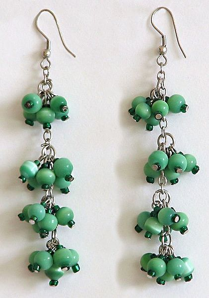 Vineyard - Green Bead Cluster Earrings