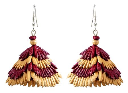 Maroon with Beige Paddy Jhumka Earrings