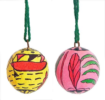 Set of 2 Hanging Betel Nut with Folk Painting