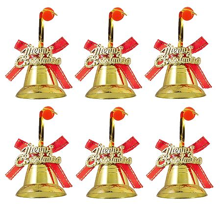 6 Golden Bells for Christmas Tree Decoration