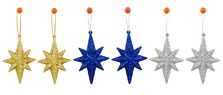 6 Thermocol Glitter Stars for Christmas Tree Decoration