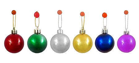 6 Multicolor Acrylic Balls for Christmas Tree Decoration