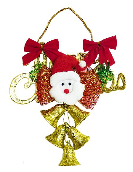Merry Christmas Santa With Golden Bells for Christmas Decoration
