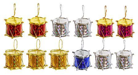 Set of 12 Colorful Drums for Christmas Decoration
