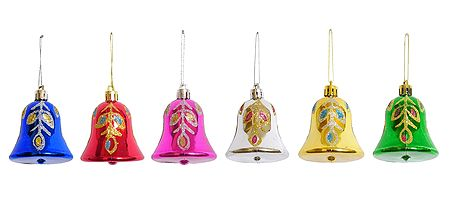 Set of 6 Colorful Acrylic Bells for Christmas Decoration