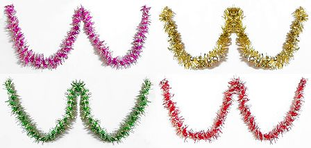 Set of Four Decorative Red, Magenta, Golden and Green Foil Paper Streamer
