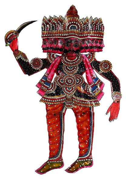 Hand Painted Multicolor Ravana - Perforated Leather Hanging Puppet from Andhra Pradesh