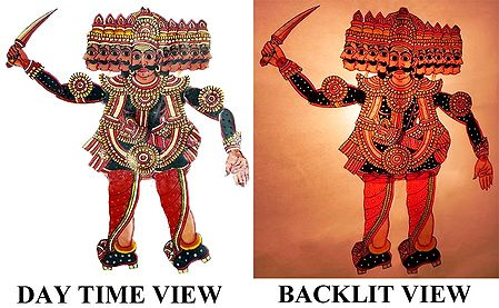 Hand Painted Ravana - Perforated Leather Puppet from Andhra Pradesh