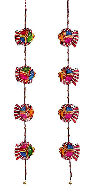 Set of 2 Hand Painted Hanging Fish with Beads - Perforated Leather Crafts