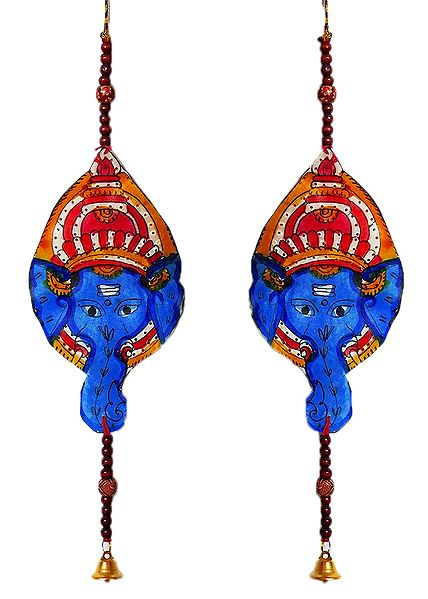 Set of 2 Hand Painted Hanging Ganesha with Beads - Perforated Leather Crafts