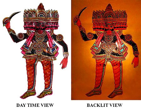 Hand Painted Ravana - Perforated Leather Hanging Puppet from Andhra Pradesh