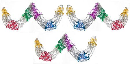 Set of Three Decorative Multicolor Foil Paper Streamer