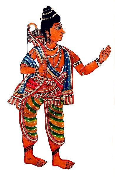 Hand Painted Lakshmana - Perforated Leather Hanging Puppet from Andhra Pradesh