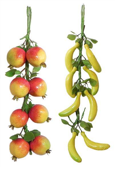 2 Bunches of Pomegranates and Bananas - Wall Hanging