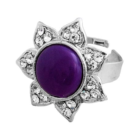 White and Dark Purple Stone Studded Metal Ring