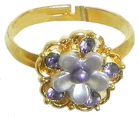 Light Mauve Stone Studded Adjustable Ring