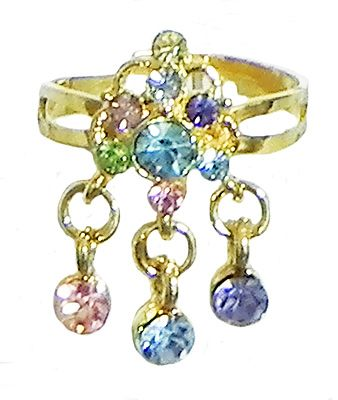 Blue and Pink Stone Studdd Adjustable Ring