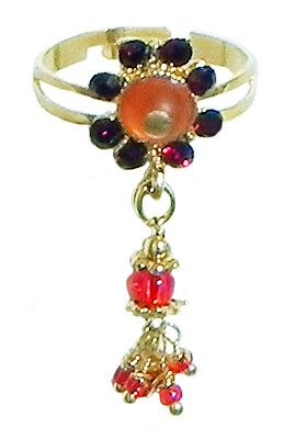 Saffron and Maroon Stone Studdd Adjustable Ring with Beaded Jhalar