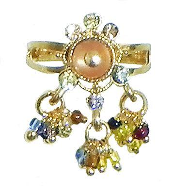 Peach Stone Studdd Adjustable Ring with Beaded Jhalar