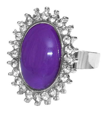 White and Purple Stone Setting Metal Ring