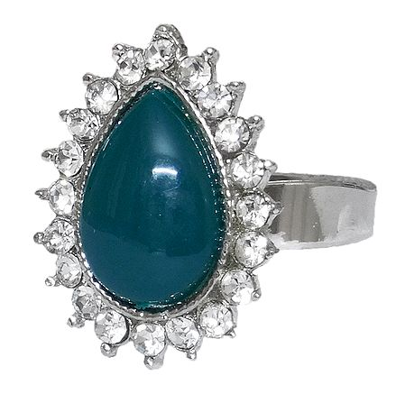 White and Cyan Stone Setting Metal Ring
