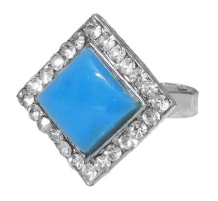 White and Cyan Stone Setting Square Metal Ring