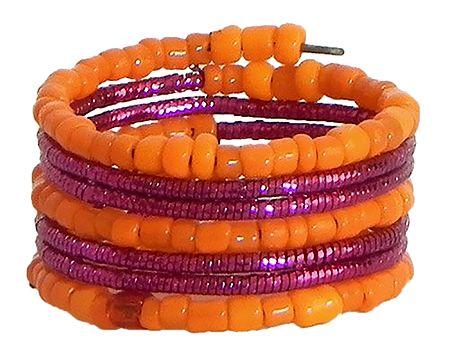 Orange with Magenta Beaded Adjustable Ring