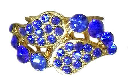 Faux Blue Sapphire Paisley Design Ring
