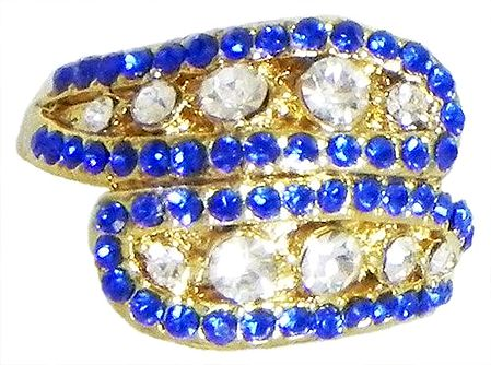 Blue and White Stone Studded Ring