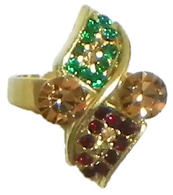 Green and Maroon Stone Studded Adjustable Ring