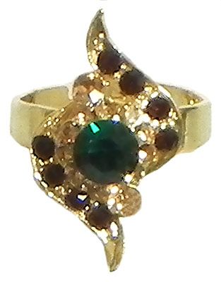 Maroon and Green Stone Studded Adjustable Ring