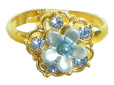 Light Blue Stone Studded Adjustable Ring