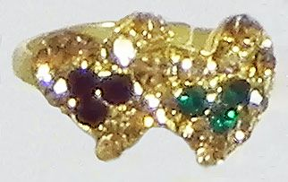 Green, Maroon and Light Brown Stone Studded Adjustable Ring