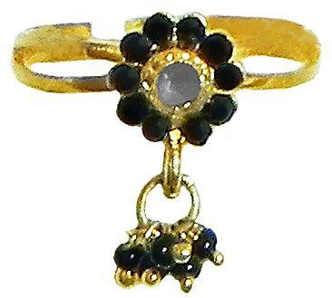 Black Stone Studded Jhalar Adjustable Ring