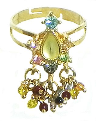Green Stone Studded Jhalar Adjustable Ring