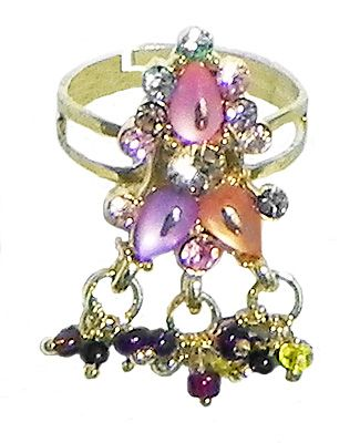 Adjustable Ring with Beaded Jhalar