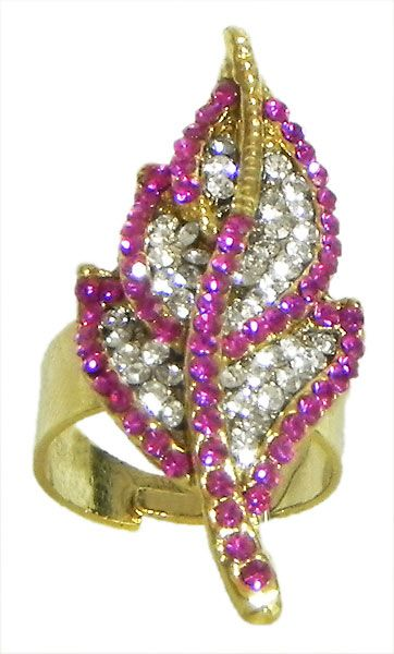 Faux Ruby and White Zirconia Leaf Ring
