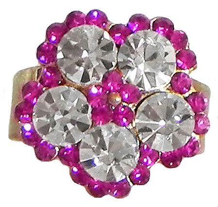 Faux Ruby and White Zirconia Ring Ring