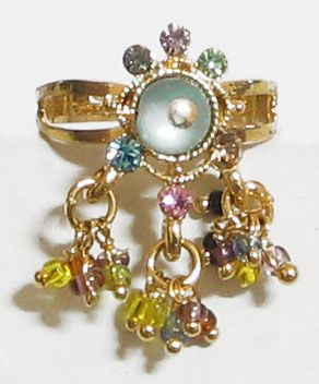 Majestic - Multicolor Stone and Beaded Adjustable Ring