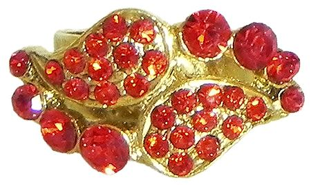 Red Stone Studded Paisley Design Ring