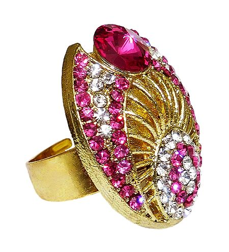 Magenta and White Stone Studded Adjustable Ring
