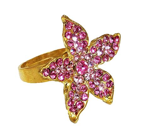 Pink and White Stone Studded Adjustable Ring