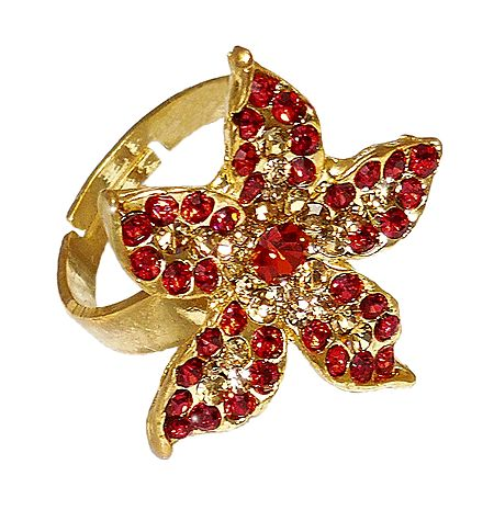 Red Stone Studded Adjustable Ring