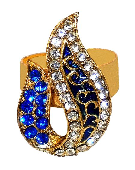 Blue and White Stone Studded Adjustable Ring