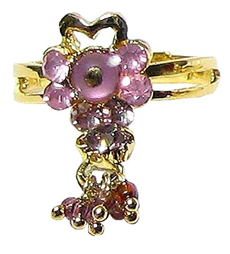 Light Purple Stone Setting Ring with Jhumkas