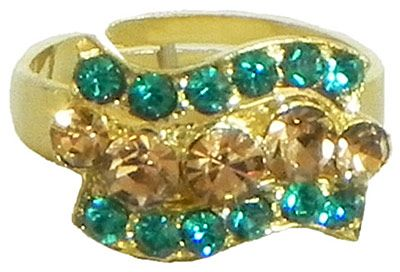 Dark Cyan Blue and Light Brown Stone Studded Adjustable Ring