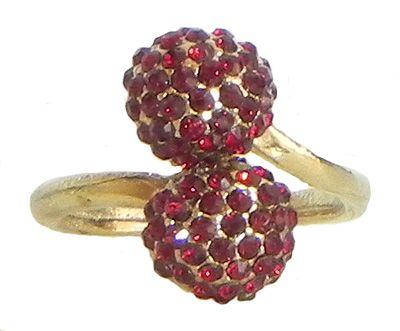 Faux Garnet Adjustable Ring