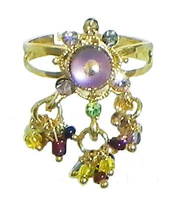 Mauve Stone Studdd Adjustable Ring with Beaded Jhalar