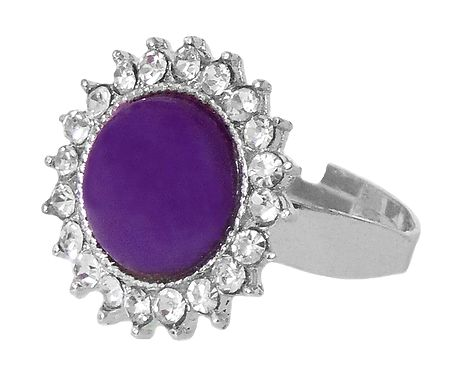 White and Dark Purple Stone Setting Metal Ring