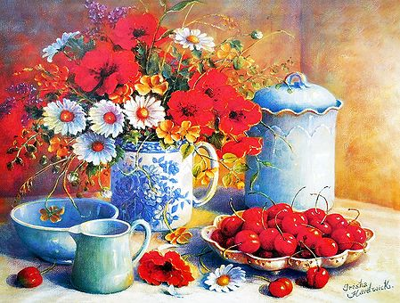 Bunch of Red Poppy and White Daisy Flowers with a Plate of Cherries